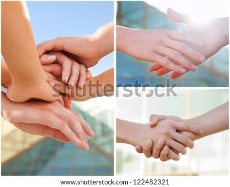 Collage of business hands making agreement and handshake - stock photo