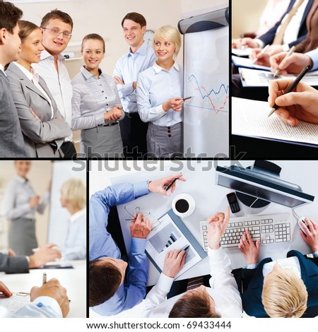 Collage of business interaction and education