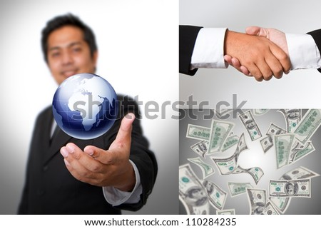 Collage of business partners at work - stock photo