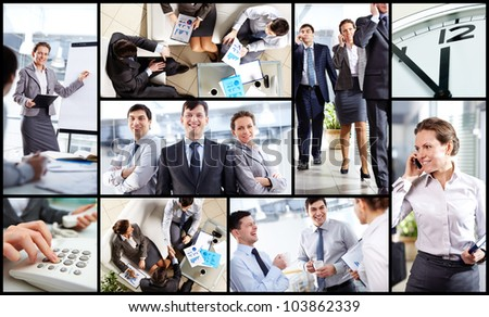 Collage of business partners at work in office