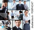 Collage of business partners in different situations - stock photo