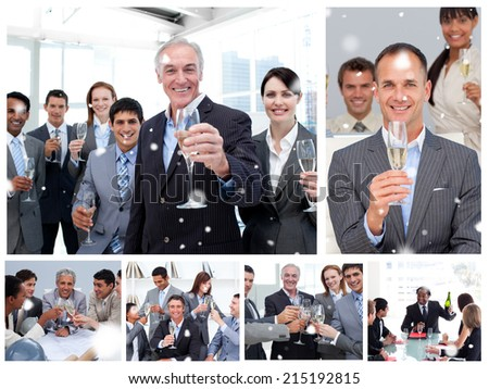 Collage of business people celebrating success against snow falling - stock photo