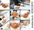 Collage of business people hands in different situations - stock