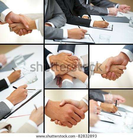 Collage of business people hands in different situations - stock photo