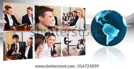 Collage of business people in conference hall with globe. Elements of this image furnished by NASA - stock photo