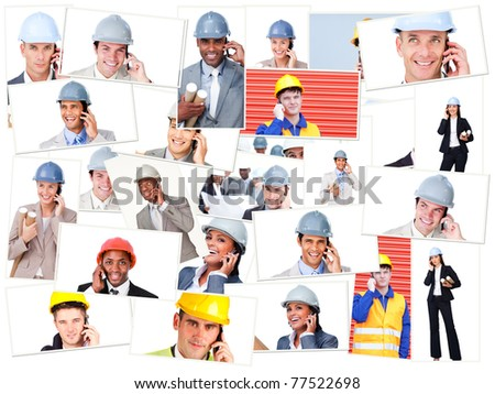 Collage of business people phoning while wearing safety helmets on the field