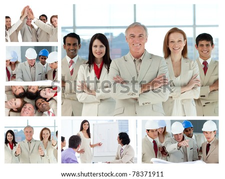 Collage of business people posing and enjoying working at the office - stock photo
