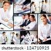 Collage of business people working in office - stock photo