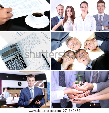 Collage of business photos - stock photo