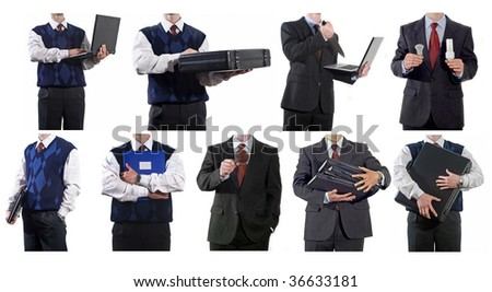 Collage of business-related people - search, stress, corporate, success, ecology, environment, offer. Full-size images are in my portfolio