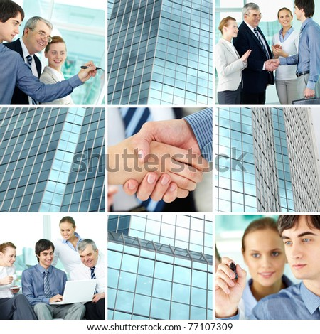Collage of business team and office building - stock photo