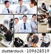 Collage of business team interacting during work - stock photo