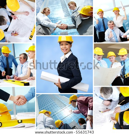 Collage of business teams and leader working in architecture - stock photo