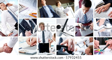 Collage of business teams, technology and partnership concepts - stock photo