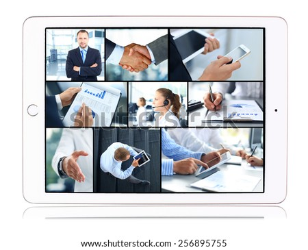 Collage of business teams, technology and partnership concepts in tablet computer - stock photo