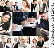 Collage of business teams working together, education and partnership concepts - stock photo
