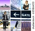 collage of business trip by means of avia transport - stock photo