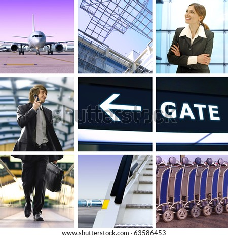 collage of business trip by means of avia transport
