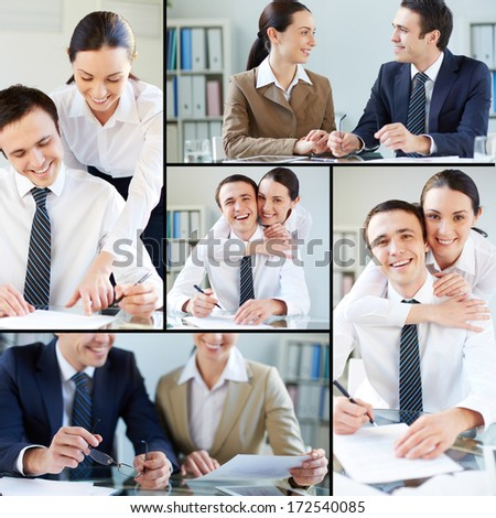 Collage of businessman and businesswoman working together - stock photo