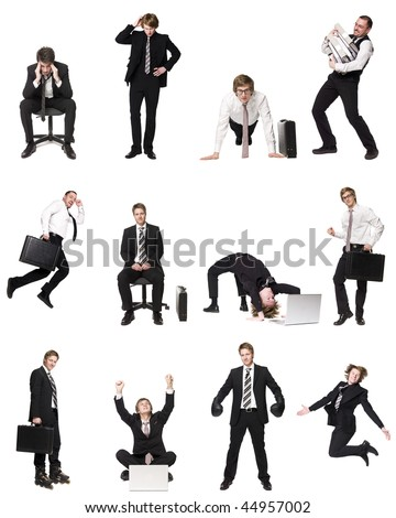 Collage of businessmen isolated on white background - stock photo