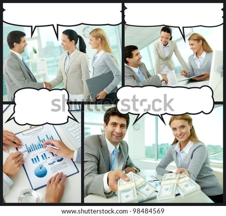 Collage of businesspeople interacting in office with speech bubbles above their heads - stock photo