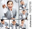 Collage of businesswoman in different situations during working day - stock photo