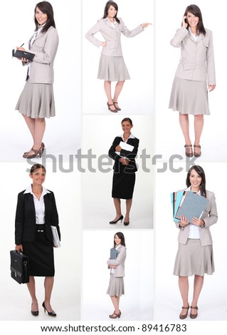 Collage of businesswomen at work - stock photo