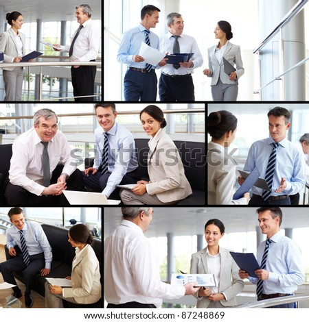 Collage of busy people discussing new working plans or ideas - stock photo
