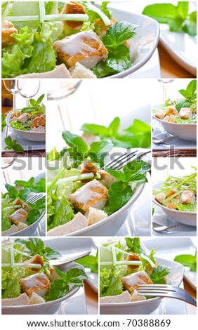 collage of caesar salad with sauce and chicken - stock photo