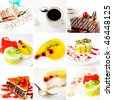 collage of cake on a white background - stock photo