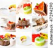 collage of cake on white background - stock photo