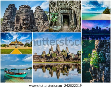 Collage of Cambodia travel images of tourist landmarks - stock photo
