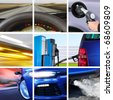 collage of car interior details and transport attributes - stock photo
