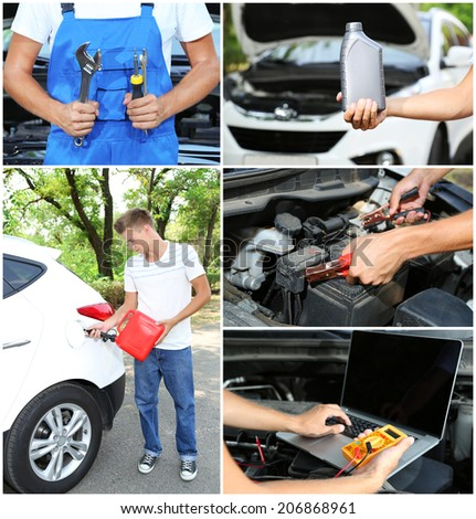 Collage of car mechanic - stock photo