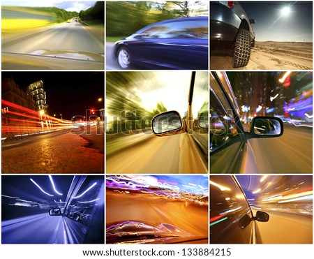 Collage of cars driving fast on different roads - stock photo