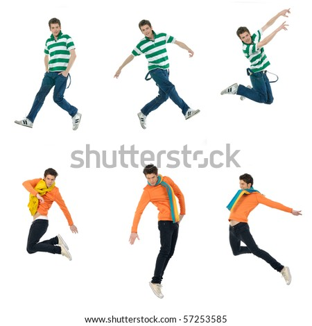 Collage of casual young man jumping