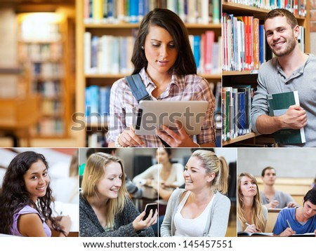 Collage of cheerful students at university - stock photo