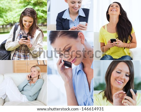 Collage of cheerful women using their cell phone - stock photo