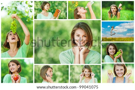 Collage of cheerful young beautiful woman eating grapes, apple and lemon, reading book, jumping on meadow, talking on cell phone, lying on grass in summer city park. - stock photo