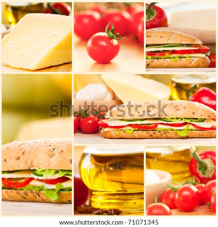 Collage of cheese sandwich with vegetables.