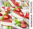 collage of cheesecake pieces on white tray - stock photo