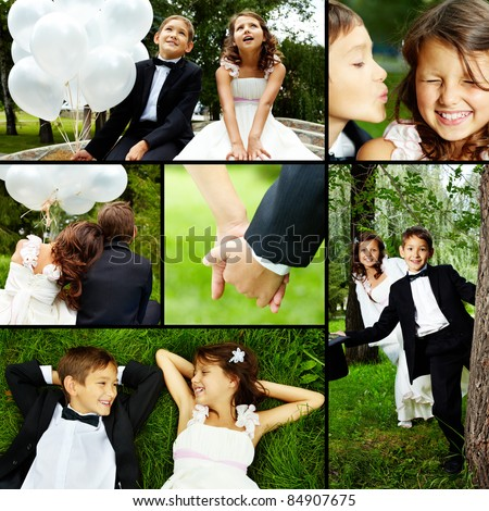 Collage of children bride and groom in park - stock photo