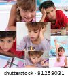 Collage of children in classroom - stock photo
