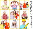 Collage of children in different situations looking at camera - stock photo