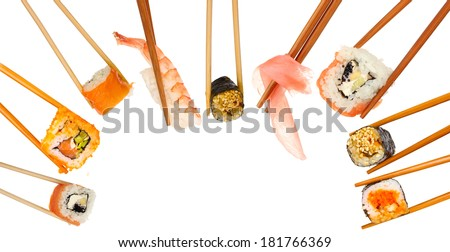Collage of chopsticks with different food isolated on white - stock photo