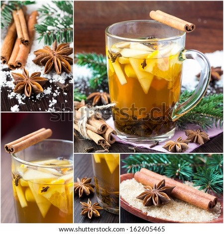 Collage of Christmas hot drink, tasty tea with spices, apples and oranges - stock photo