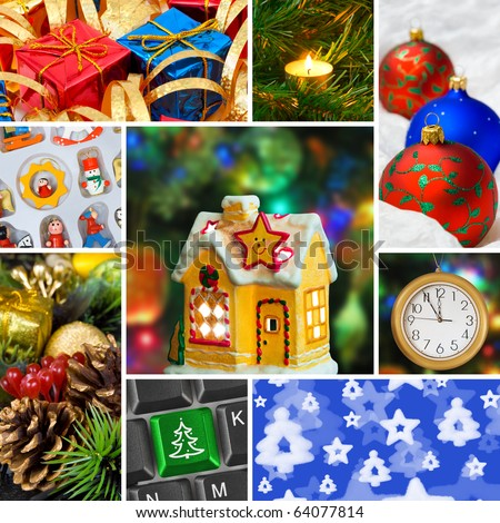 Collage of christmas images (my photos) - holiday background - stock photo