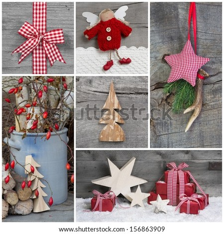 Collage of Christmas photos and decorations on grey wooden background. - stock photo
