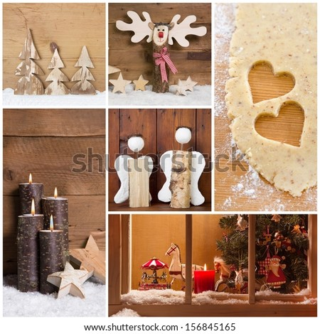 Collage of Christmas photos and decorations on warm brown background. - stock photo