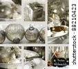 Collage of Christmas place settings - stock photo